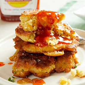 Sweet Red Chili Grilled Corn Fritters