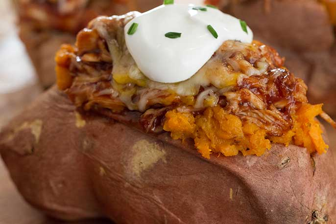 Bbq chicken stuffed baked sweet potato sweet baby rays bbq chicken stuffed baked sweet potato forumfinder Choice Image