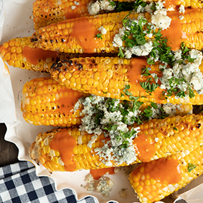 Buffalo Grilled Corn with Blue Cheese